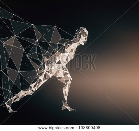 Side view of running polygonal hero with cape on dark background. 3D Rendering