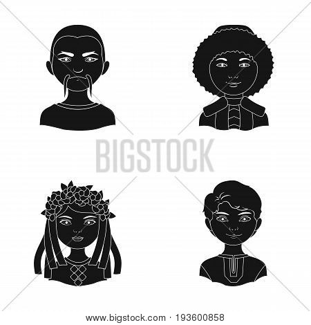 Chinese, ukrainian, russian, eskimo. Human race set collection icons in black style vector symbol stock illustration .