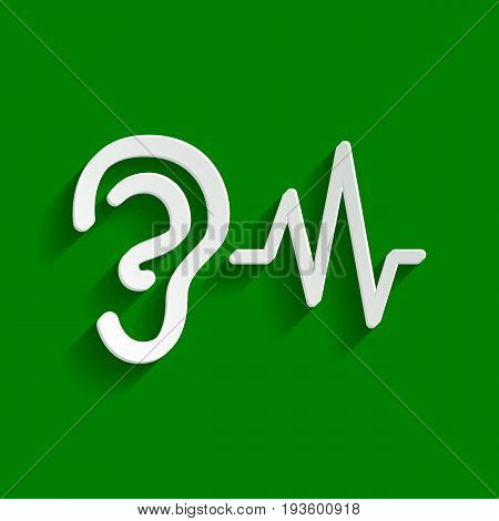 Ear hearing sound sign. Vector. Paper whitish icon with soft shadow on green background.