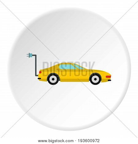 Electro car icon in flat circle isolated vector illustration for web