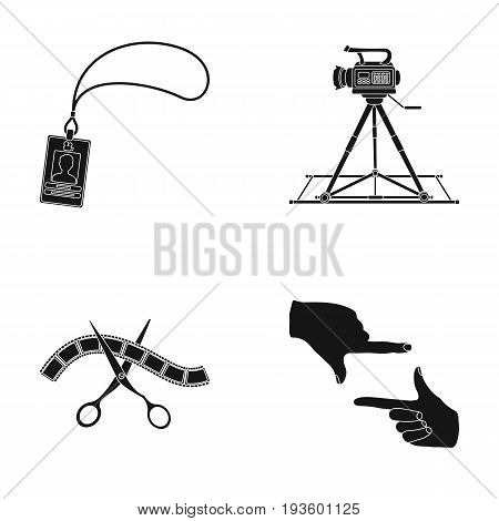 Badge, operator gesture and other accessories for the movie. Making movie set collection icons in black style vector symbol stock illustration .