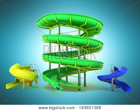 Waterpark Slides Green Yellow Blue 3D Rendering On Blue Background