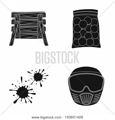 Wooden barricade, protective mask and other accessories. Paintball single icon in black style vector symbol stock illustration .