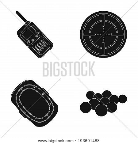 Balls with paint and other equipment. Paintball single icon in black style vector symbol stock illustration .