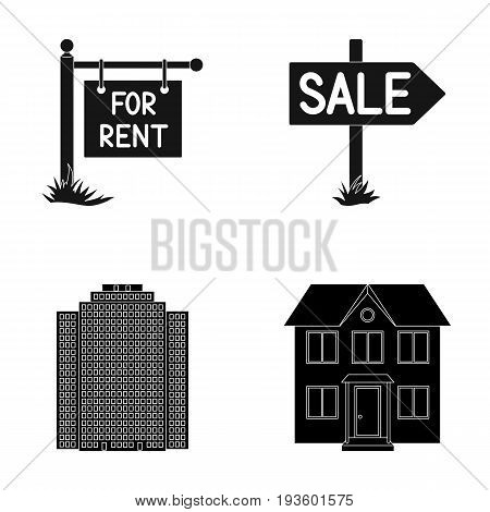 Signs of sale and rent, a skyscraper, a two-story cottage.Realtor set collection icons in black style vector symbol stock illustration .