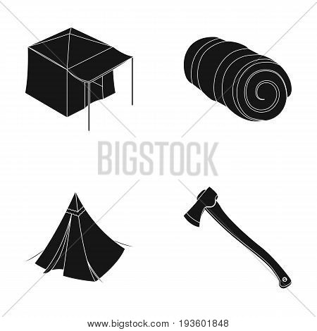 Tent with awning, ax and other accessories.Tent set collection icons in black style vector symbol stock illustration .
