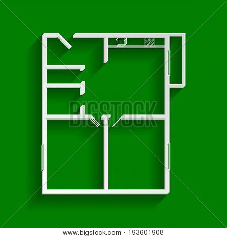 Apartment house floor plans. Vector. Paper whitish icon with soft shadow on green background.