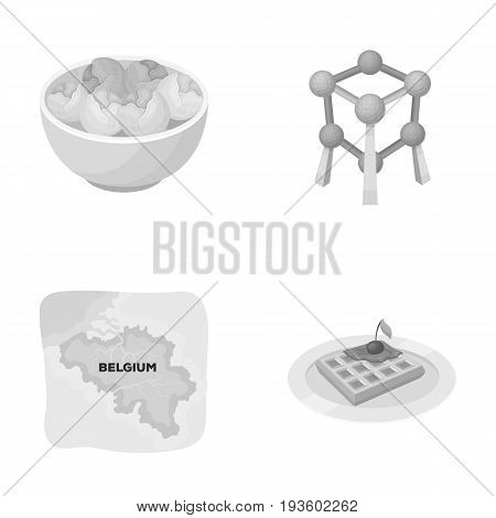 Territory on the map, brussels sprouts and other symbols of the country.Belgium set collection icons in monochrome style vector symbol stock illustration .