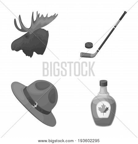 A canadian policeman's hat, a bottle of maple syrup and other Canadian symbols.Canada set collection icons in monochrome style vector symbol stock illustration .
