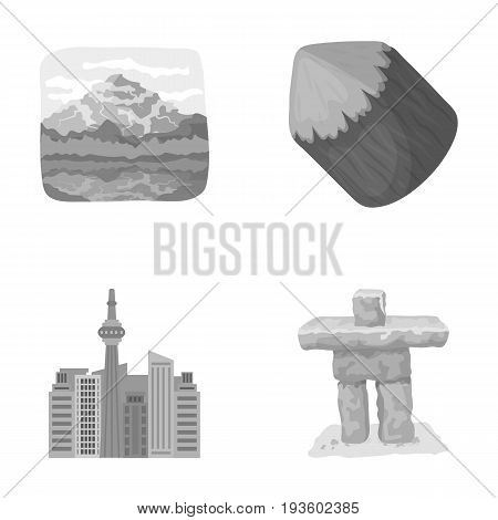 Lakes, mountains, the tower of SI-EN and other symbols of Canada.Canada set collection icons in monochrome style vector symbol stock illustration .
