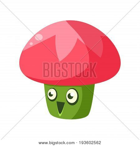 Cute fantastic plant character in the form of a mushroom, nature element cartoon vector Illustration isolated on a white background