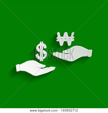Currency exchange from hand to hand. Dollar and South Korea Won. Vector. Paper whitish icon with soft shadow on green background.