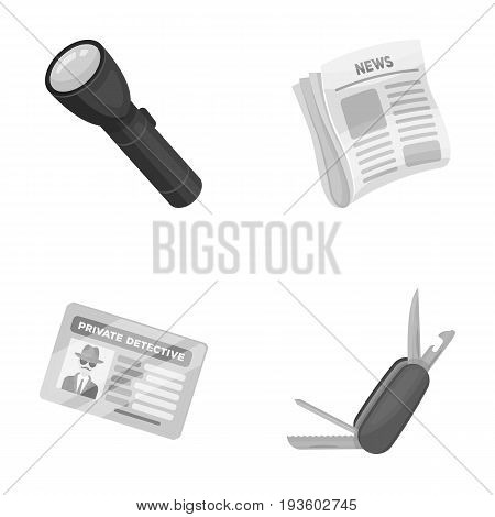 Flashlight, newspaper with news, certificate, folding knife.Detective set collection icons in monocrome style vector symbol stock illustration .