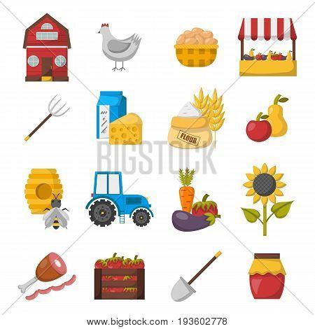 Vector Cartoon Farm Market Icons