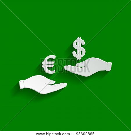Currency exchange from hand to hand. Euro and Dollar. Vector. Paper whitish icon with soft shadow on green background.