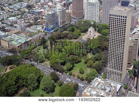 Urban buildings and park in the city centre, Sydney, Australia