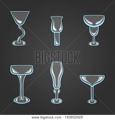 Big vector set of stemware. Transparent glass on a blue background.