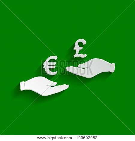 Currency exchange from hand to hand. Euro and Pound. Vector. Paper whitish icon with soft shadow on green background.