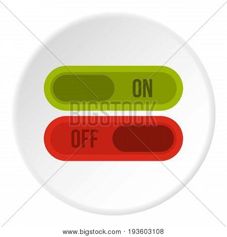 Button on and off icon in flat circle isolated vector illustration for web