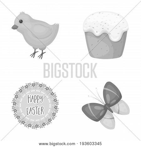 Easter cake, chicken, butterfly and greeting sign.Easter set collection icons in monochrome style vector symbol stock illustration .