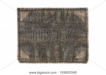 Old brown leather clothes label isolated over white