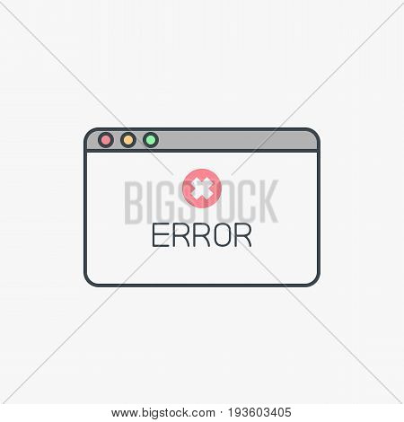 Pop up window with error message and alert sign. Thin line modern flat style vector illustration.