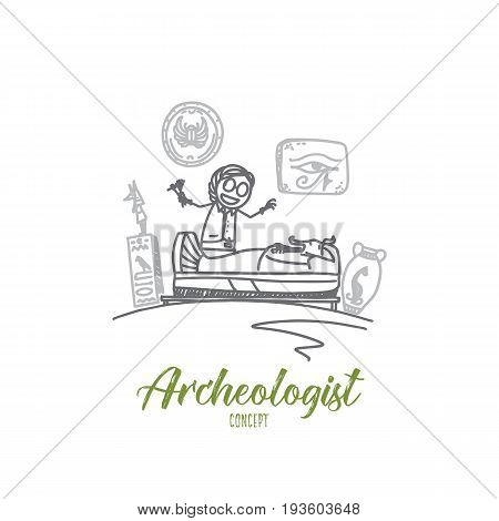 Archeologist concept. Hand drawn job of archeologist. Archaeology work isolated vector illustration.