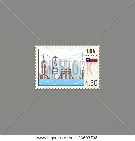 Postage stamp with New York view. Rectangle US postage stamp with perforation. Flat style line modern vector illustration with retro colors. For postal envelopes postcards or letter retro style.