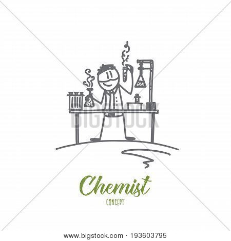 Chemist concept. Hand drawn scientist working. Chemist with chemical substances in the laboratory isolated vector illustration.
