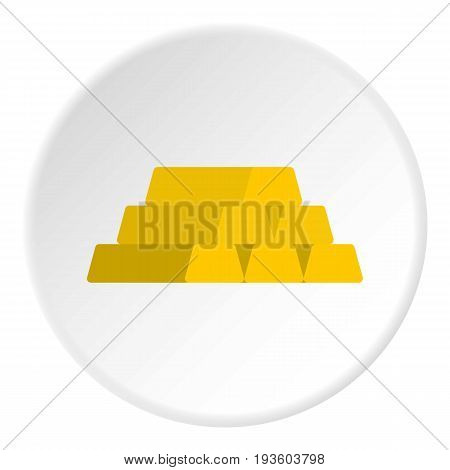 Gold bar icon in flat circle isolated vector illustration for web