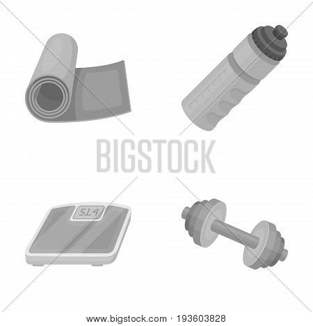 A dumbbell, a rug and other equipment for training.Gym and workout set collection icons in monochrome style vector symbol stock illustration .