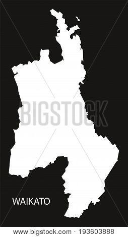 Waikato New Zealand Map Black Inverted Silhouette Illustration