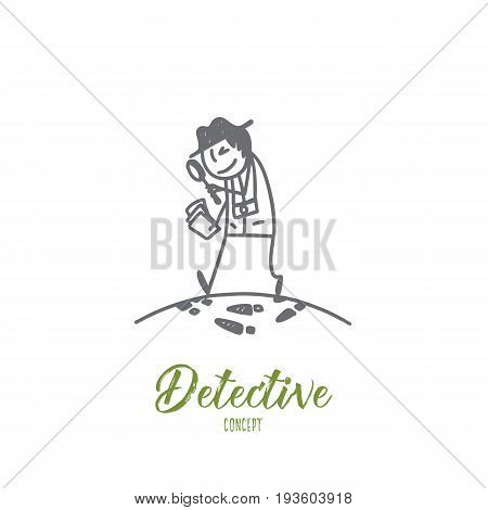 Detective concept. Hand drawn detective man doing criminal investigation. Person with lens symbol of detective isolated vector illustration.