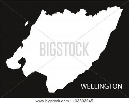 Wellington New Zealand Map Black Inverted Silhouette Illustration