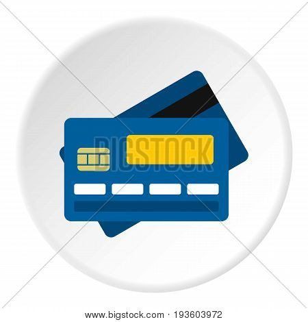 Credit card icon in flat circle isolated vector illustration for web