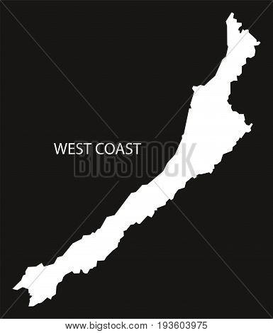 West Coast New Zealand Map Black Inverted Silhouette Illustration