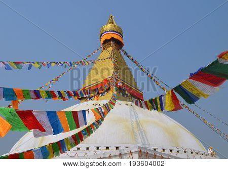 Flags lunghta on The Great stupa Bodnath in Kathmandu, Nepal