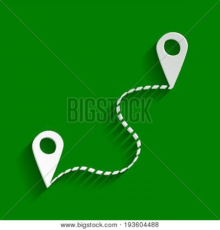Location pin navigation map, gps sign. Vector. Paper whitish icon with soft shadow on green background.