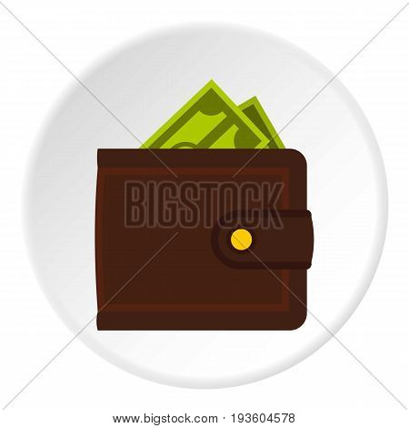 Leather purse icon in flat circle isolated vector illustration for web