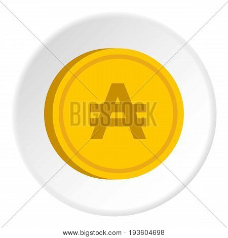 Gold coin with austral sign icon in flat circle isolated vector illustration for web