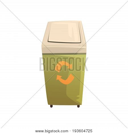 Garbage wheelie bin with lid, waste processing and utilization cartoon vector Illustration isolated on a white background