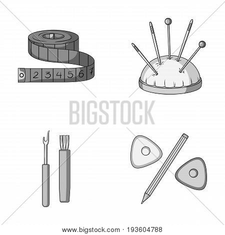 Measuring tape, needles, crayons and pencil.Sewing or tailoring tools set collection icons in monochrome style vector symbol stock illustration .