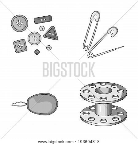 Buttons, pins, coil and thread.Sewing or tailoring tools set collection icons in monochrome style vector symbol stock illustration .