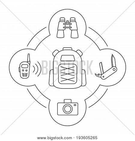 Tourist's backpack contents linear icons set. Penknife, photocamera, walkie-talkie, binoculars. Isolated vector illustrations