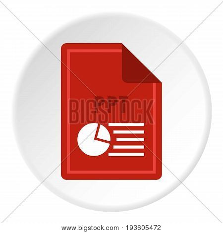 File PPT icon in flat circle isolated vector illustration for web