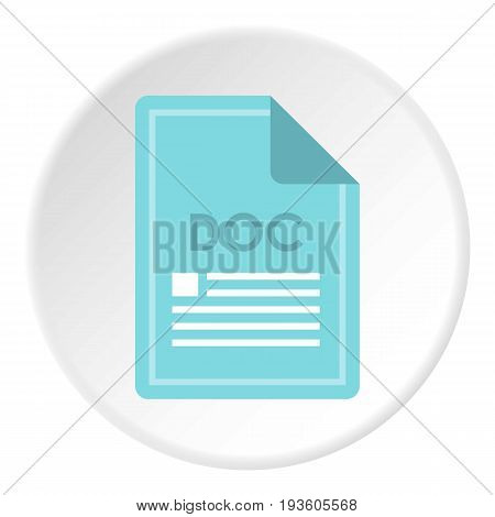 File DOC icon in flat circle isolated vector illustration for web