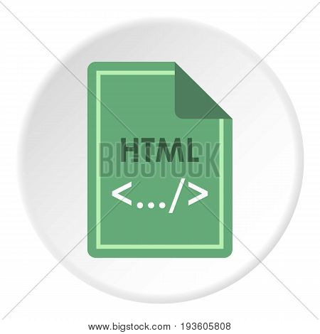 File HTML icon in flat circle isolated vector illustration for web