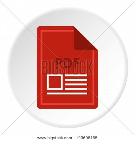 File PDF icon in flat circle isolated vector illustration for web