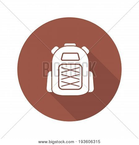 Backpack flat design long shadow glyph icon. Tourist's rucksack. Vector silhouette illustration