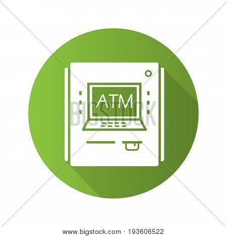 ATM machine flat design long shadow glyph icon. Bank cash machine. Vector silhouette illustration